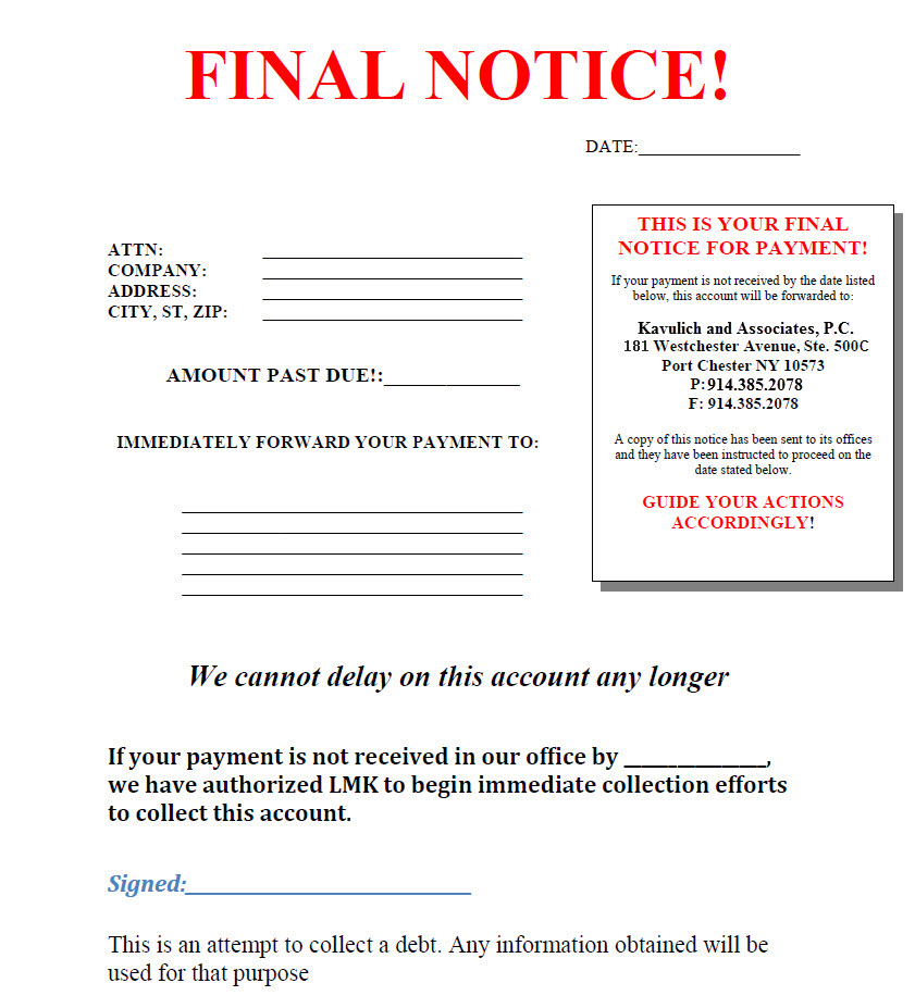 Final Notice Template Final Rent Demand Letter Create A Final Rent